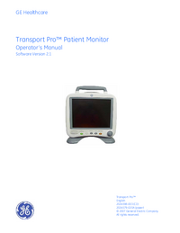 Manual do Usuário GEHealthcare Transport Pro