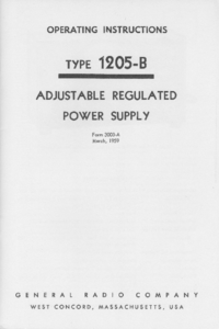 Service and User Manual GR 1205-B