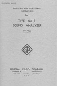 Service and User Manual GR 760-B