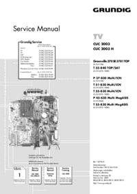 Service Manual Supplement Grundig T 55-830 Multi MegASIS