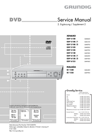 Service Manual Supplement Grundig XENARO GDP 5105
