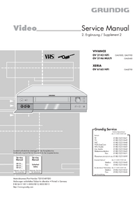 Service Manual Supplement Grundig VIVANCE GV 3143 HiFi