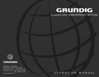 Manuale d'uso Grundig CLASSIC 960 ANNIVERSARY EDITION