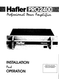Manual del usuario Hafler Pro2400