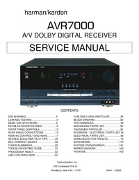 Service Manual HarmanKardon AVR7000