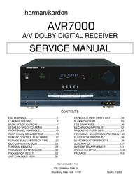 Instrukcja serwisowa HarmanKardon AVR7000