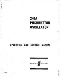 Service et Manuel de l'utilisateur HewlettPackard 241A