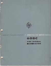 Service and User Manual HewlettPackard 608C