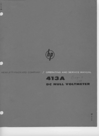 Service and User Manual HewlettPackard 413A