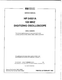Service Manual HewlettPackard HP 54501A