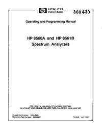 Manuel de l'utilisateur HewlettPackard 8561B