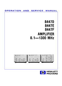 Service and User Manual HewlettPackard 8447D