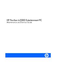 Руководство по техническому обслуживанию HewlettPackard Pavilion tx2000