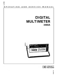 Service and User Manual HewlettPackard 3466A