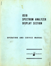 Service and User Manual HewlettPackard 851B