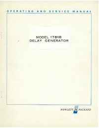 Service and User Manual HewlettPackard 1781B