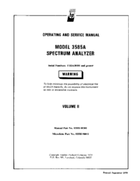 Service and User Manual HewlettPackard 3585A