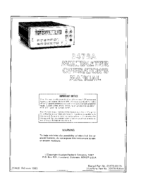 Manual del usuario HewlettPackard 3478A