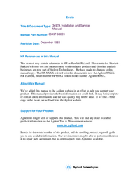 Service and User Manual HewlettPackard 3497A