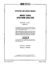 Service and User Manual HewlettPackard 3580A