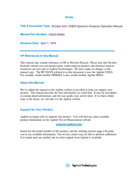 User Manual HewlettPackard 3582A