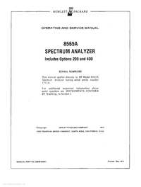 Serwis i User Manual HewlettPackard 8565A
