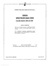 Serviço e Manual do Usuário HewlettPackard 8565A