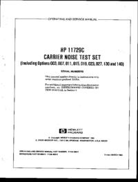 Service et Manuel de l'utilisateur HewlettPackard 11729C