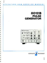 Serviço e Manual do Usuário HewlettPackard 8012B