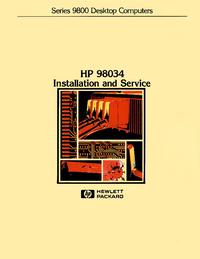 Service Manual HewlettPackard 98034 HP-IB Interface