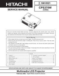 Manual de servicio Hitachi CP-S370W