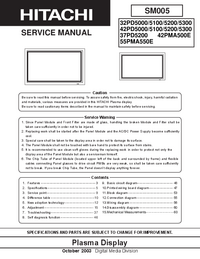 Service Manual Hitachi 42PMA500E