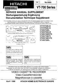 Service Manual Supplement Hitachi VT-MX702EL