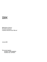 manuel de réparation IBM ThinkPad Dock (MT 2631)