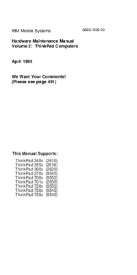 Service Manual IBM ThinkPad 701x (2630)