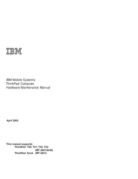 Service Manual IBM ThinkPad T20