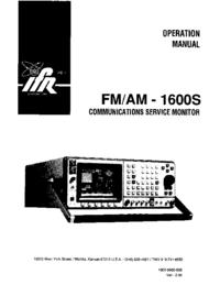 Manuel de l'utilisateur IFR FM/AM-1600S