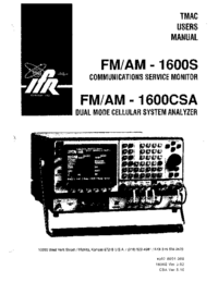 User Manual IFR FM/AM-1600CSA