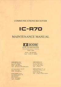 Manuale di servizio Icom IC-R70
