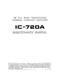 Руководство по техническому обслуживанию Icom IC-720A