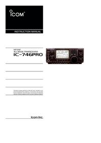 Bedienungsanleitung Icom IC-746Pro