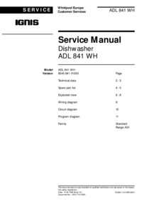 Service Manual Ignis ADL 841 WH