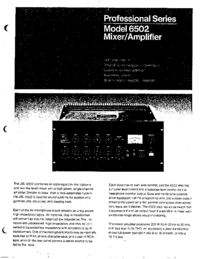 Service and User Manual JBL 6502