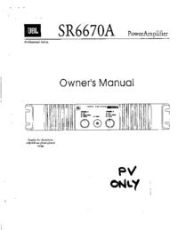 Service- und Bedienungsanleitung JBL SR6670A