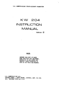 Service and User Manual KW KW 204