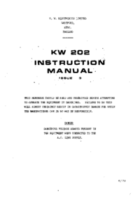 Service and User Manual KW KW 202