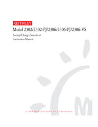 Service and User Manual Keithley 2306-PJ