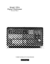 Service and User Manual Keithley 195A