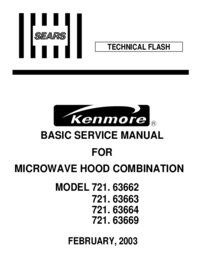 Service Manual Kenmore 721. 63663