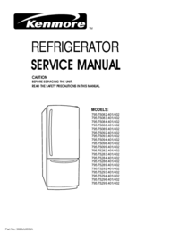 Service Manual Kenmore MODELS: